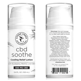 Stono Creek 550MG CBD Hemp Extract Soothe Cooling Relief Lotion 3.4oz