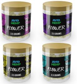 Avid Hemp CBD Flower 3.5 Gram Jar - Hawaiian Haze, Lifter, Sour Space Candy, Suver Haze