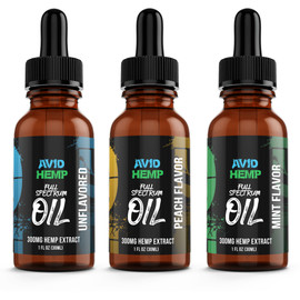 Avid Hemp 300MG Full Spectrum CBD Tincture 30ML - Peach,Mint,Unflavored