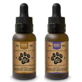 Kore Organic 750MG Isolate CBD Pet Oil Tincture 30ML - Canadian Maple Bacon , Seafood Medley