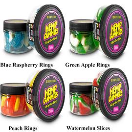 Hemplitude 250MG Full Spectrum CBD Hemp Gummies 4oz - Blue Raspberry Rings,Green Apple Rings,Peach Rings,Watermelon Slices