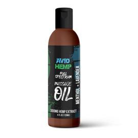 Avid Hemp 300MG Full Spectrum CBD Massage Oil 120ML - Menthol+Lavender