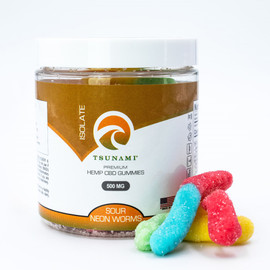 Tsunami Premium 500MG Isolate CBD Gummies - 50 Count - Sour Neon Worms