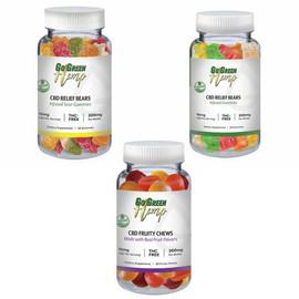 GoGreen Hemp 200MG Broad Spectrum CBD Gummies 20 Count - Fruity Chews, Regular Bears, Sour Bears