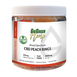 GoGreen Hemp 500MG Broad Spectrum CBD Gummy Rings 20 Count THC Free - Peach Rings
