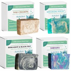 Healthy Roots Hemp 100MG Full Spectrum CBD Infused Body Soap 4.5oz - Available Flavor - Bergamot and Black Tea, Breaking Waves, Nag Champa, Nirvana