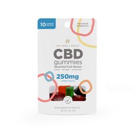 Sky Wellness 250MG Broad Spectrum CBD Gummies - 10 Count - Assorted Fruit
