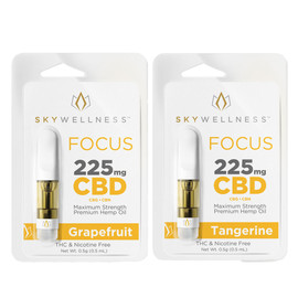 Sky Wellness 225MG Broad Spectrum CBD Focus Vape Cartridge 0.5ML - Grapefruit, Tangerine