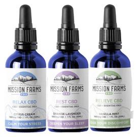 Mission Farms CBD 1000MG Full Spectrum CBD + Essential Oils 30ML - Relax, Rest, Relieve
