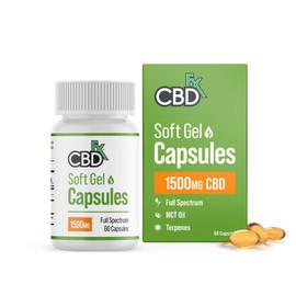 CBDfx 1500mg Full Spectrum Hemp Soft Gel Capsules - Single Bottle 60ct