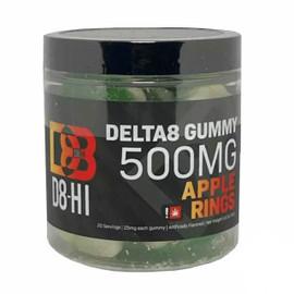 D8-HI 500MG Delta-8 Infused Gummies - 20ct Jar - Apple Rings