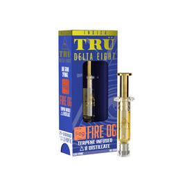 TRU Delta Eight 1G Terpene Infused Delta 8 Distillate Syringe 1ML - Display of 10 - Fire OG