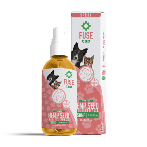 Fuse 750mg CBD Hemp Seed Oil Extract Tincture Spray For Pets 60ML  - Salmon