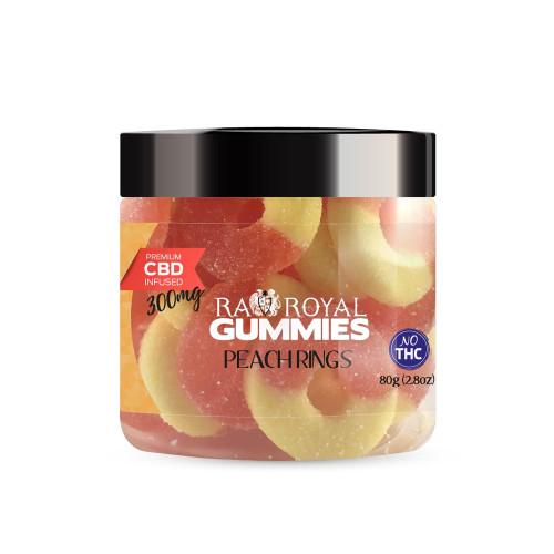 RA Royal 300mg CBD Infused Gummies 3.2oz - Peach Rings