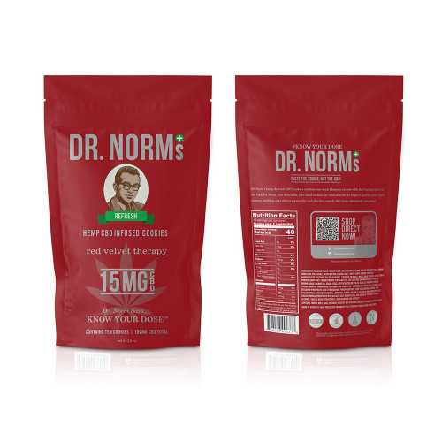 Dr. Norm's 150mg Hemp CBD Infused Cookies - Pack of 10 - Red Velvet