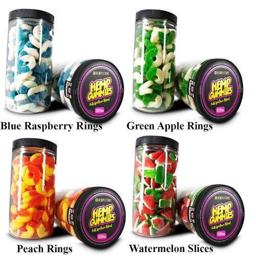 Hemplitude 1000MG Full Spectrum CBD Hemp Gummies 32oz - Blue Raspberry Rings,Green Apple Rings,Peach Rings,Watermelon Slices
