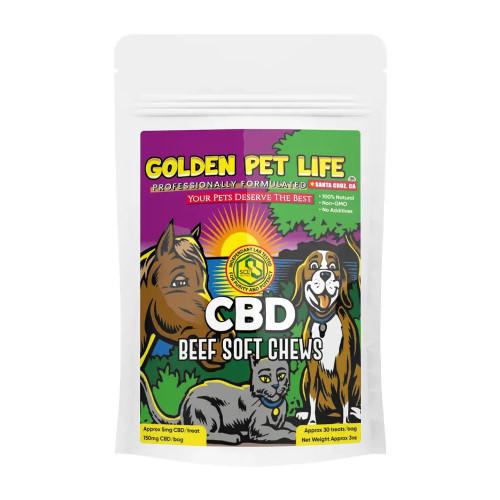 Golden Pet Life 150MG Isolate CBD Pet Soft Chews 30 Count - Beef