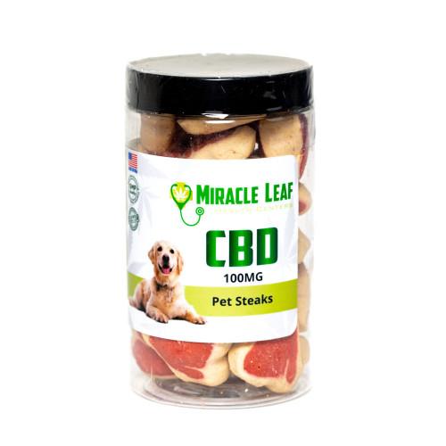 Miracle Leaf 100MG CBD Pet Treats 30 Count - Steaks
