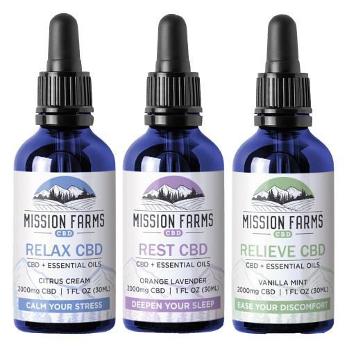 Mission Farms CBD 2000MG Full Spectrum CBD + Essential Oils 30ML - Relax, Rest, Relive
