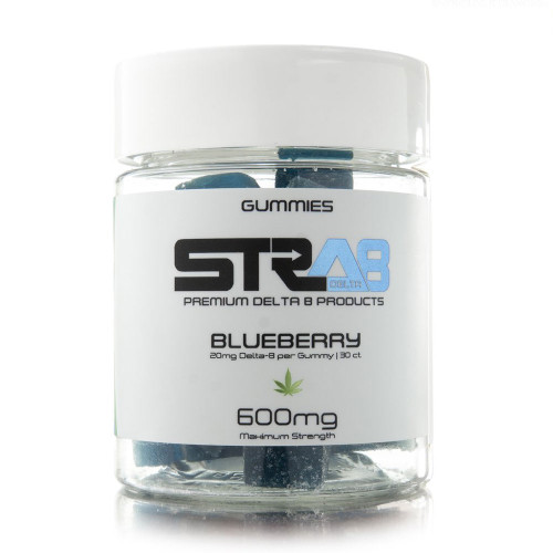 STRA8 600MG Delta 8 Infused Gummies - 30ct Jar - Blueberry