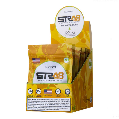 STRA8 100MG Delta-8 Infused Gummies - Display of 10 / 5 Count Pouches - Tropical Bliss