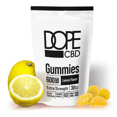 DOPE CBD 600mg Broad Spectrum CBD Lemon Gummies - 30ct Pouch