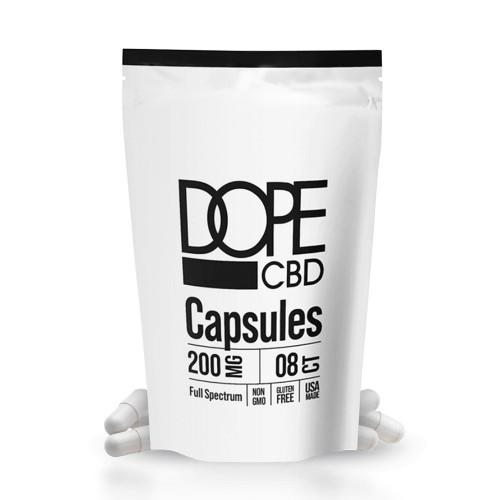 DOPE CBD 200mg Full Spectrum CBD Capsules - 8ct Pouch
