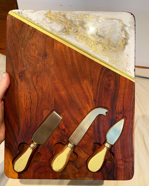 White & Gold Cheese Board