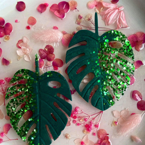Green & Glitter Monstera ONE COASTER ONLY