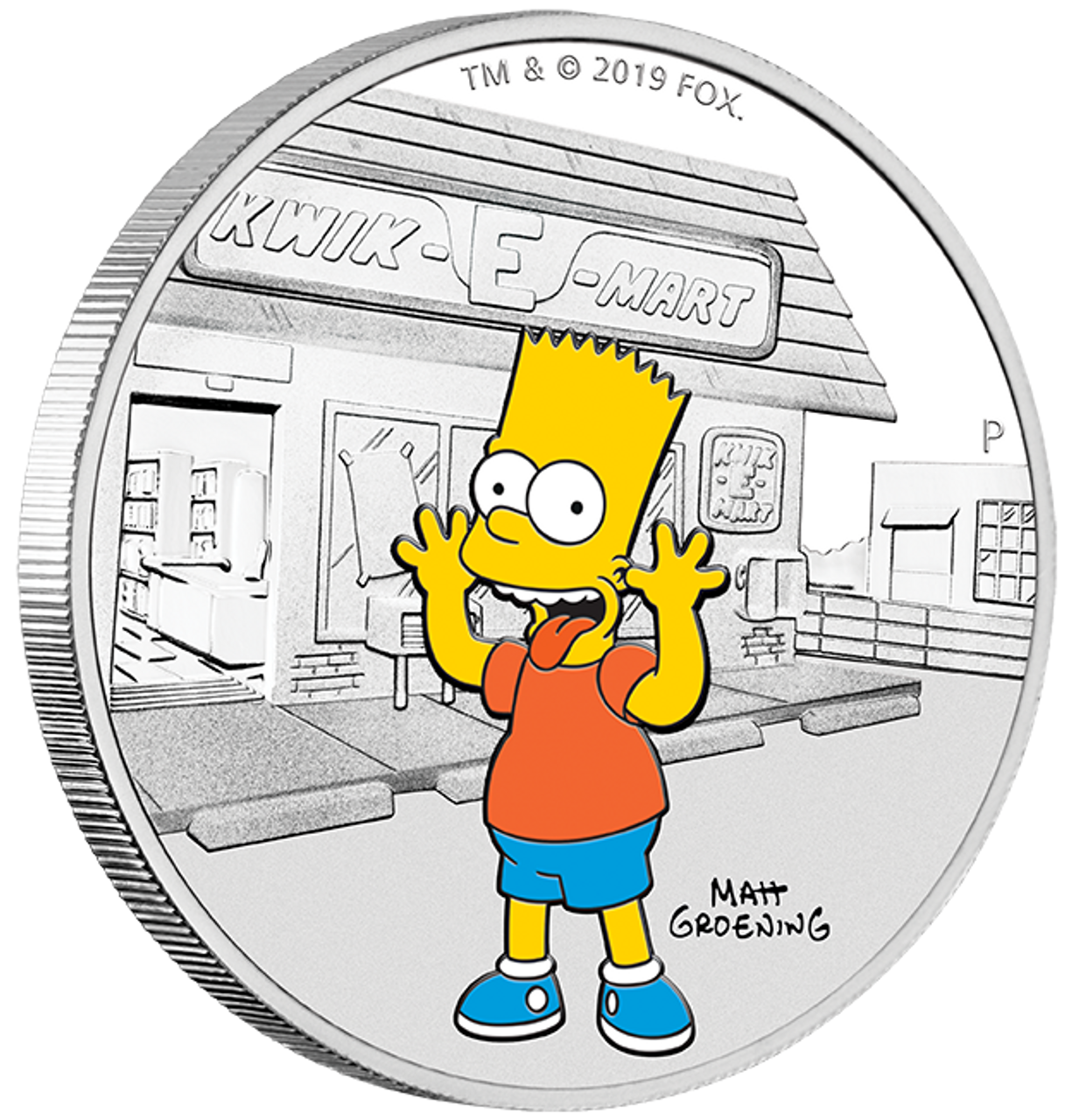 2019 THE SIMPSONS BART SIMPSON Silver Proof Coin