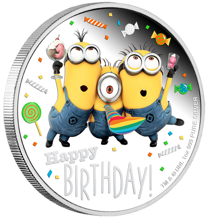 2019 MINION MADE – Happy Birthday 1oz Silver Proof Coin - Angle view - Reverse