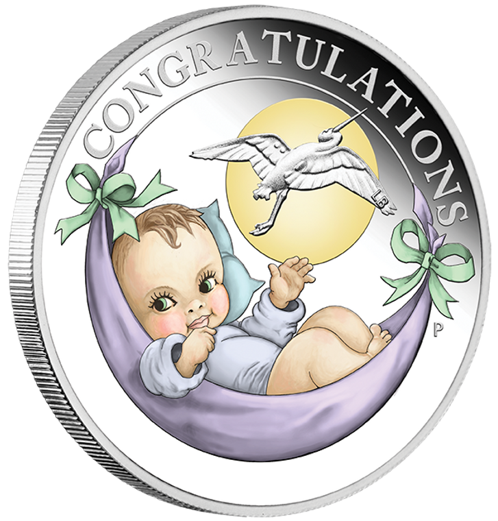 2020 Newborn 1/2oz Silver Proof Coin - reverse - angle view
