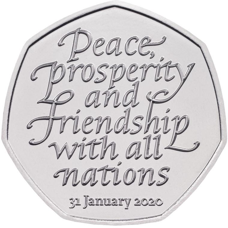 2020 50p Brexit Brilliant Uncirculated Coin - reverse