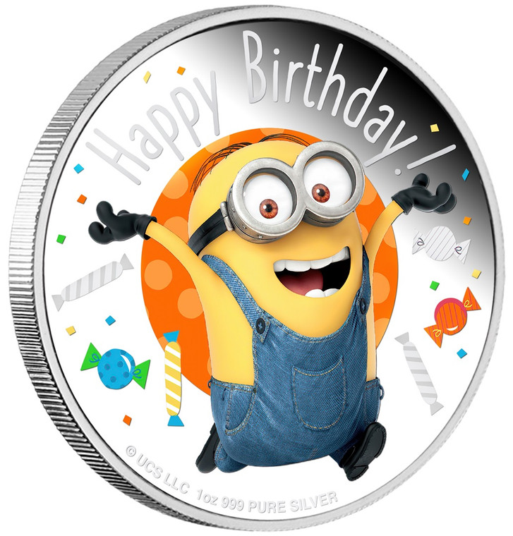 2020 MINION MADE – Happy Birthday 1oz Silver Proof Coin - reverse angle view