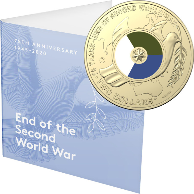 2020 $2 75th Anniversary Of The End Of WWII C Mintmark Unc Coin - in presentation card