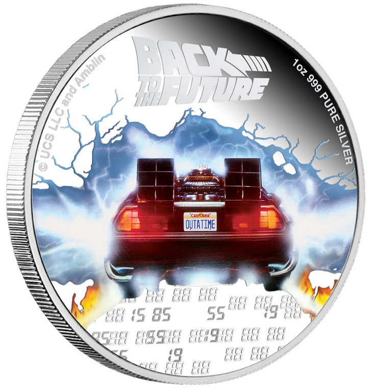 BACK TO THE FUTURE 35th Anniversary 2020 1oz Silver Proof Coin - reverse angle view