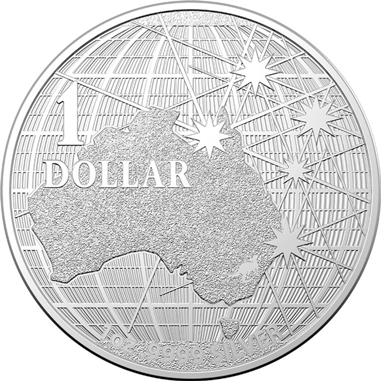 2020 $1 Beneath The Southern Skies 1oz Silver Investment Coin - reverse
