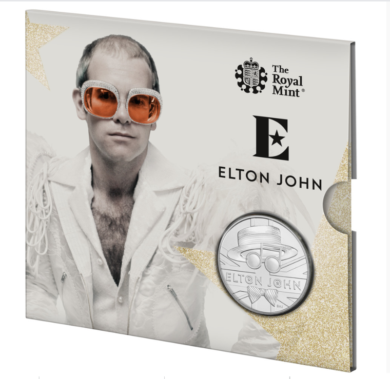 2020 Elton John Brilliant Uncirculated Coin in presentation card - closed