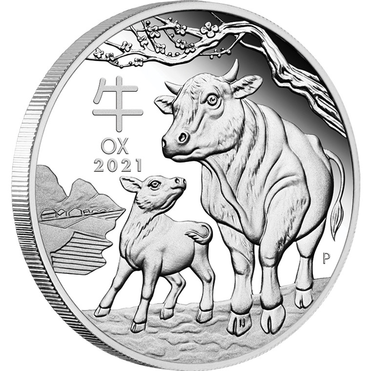 2021 Year Of The Ox Lunar 1/2oz Silver Proof Coin - reverse