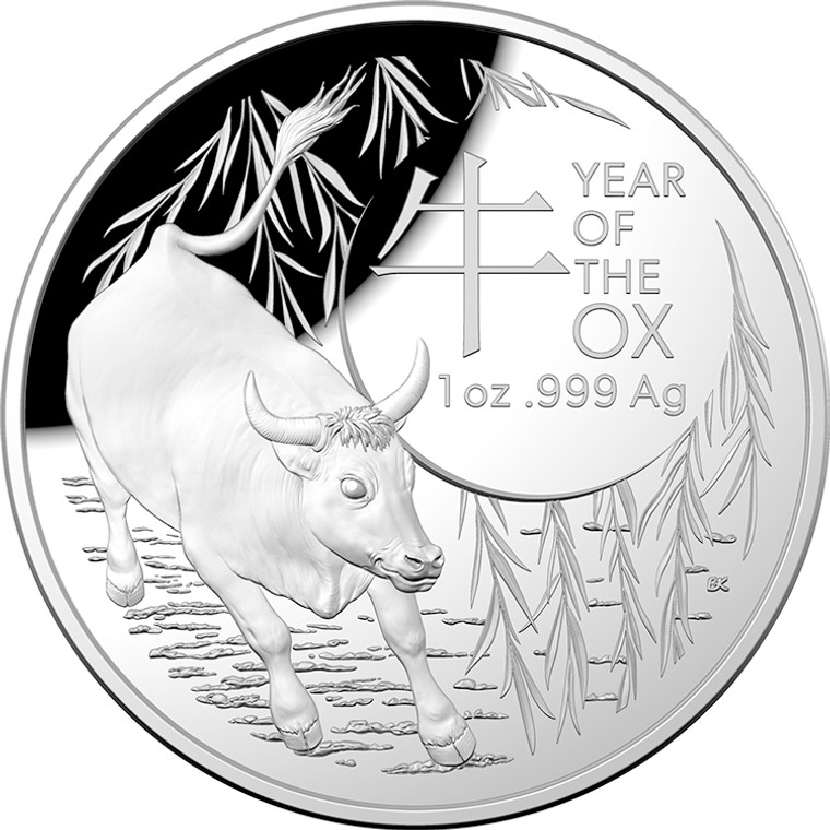 2021 $5 Lunar Year Of The Ox 1oz Silver Proof Domed Coin - reverse