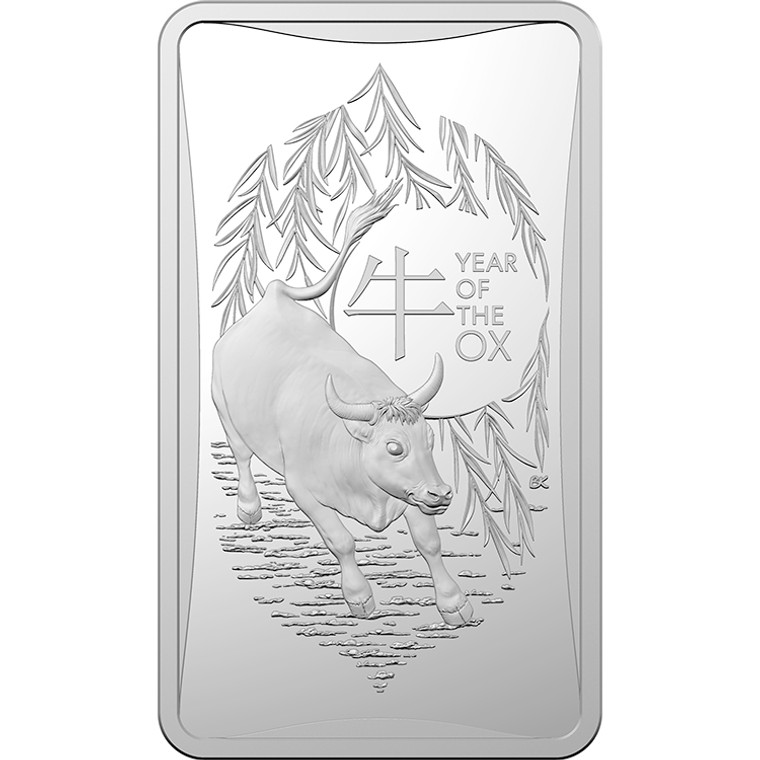 2021 $1 Lunar Year Of The Ox 1/2oz Silver Frosted Ingot - reverse