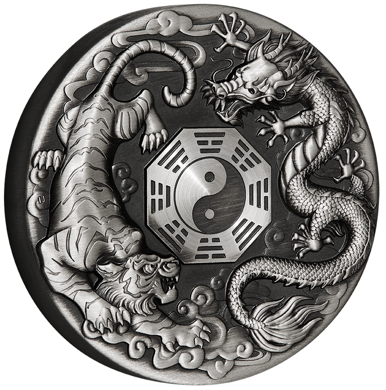 2021 Dragon and Tiger 2oz Silver Antiqued Coin - reverse angle view