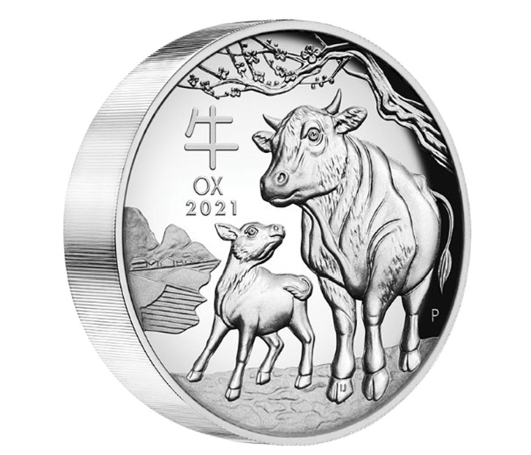 Australian Lunar Series III 2021 Year of the Ox 5oz Silver Proof High Relief Coin - reverse
