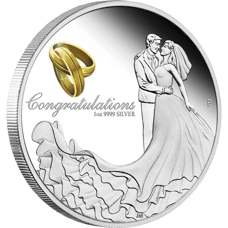 Wedding 2021 1oz Silver Proof Coin - reverse