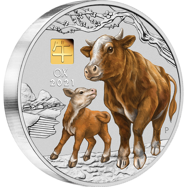 2021 Year of the Ox 1 Kilo Silver Coin with Gold Privy Mark - reverse