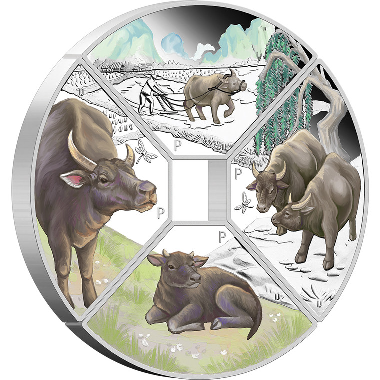 Year of the Ox Quadrant 2021 1oz Silver Four-Coin Set - reverse angle view