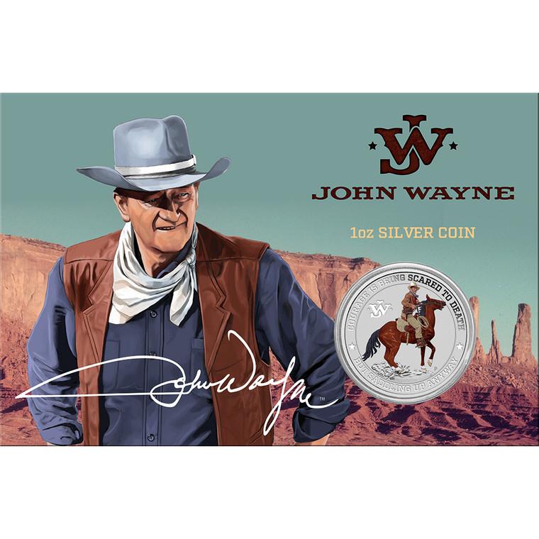 John Wayne 2021 1oz Silver Coloured Coin in card - in presentation card