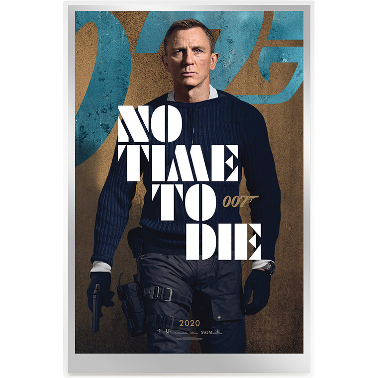 007 James Bond Movie Poster – No Time To Die 35g Silver Foil - reverse face on