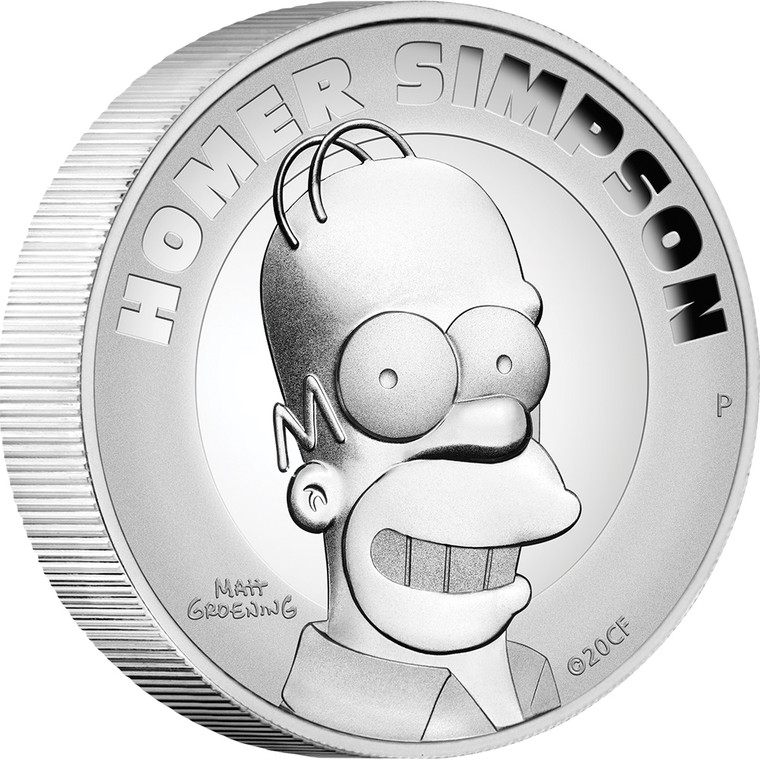 Homer Simpson 2021 2oz Silver Proof High Relief Coin - reverse