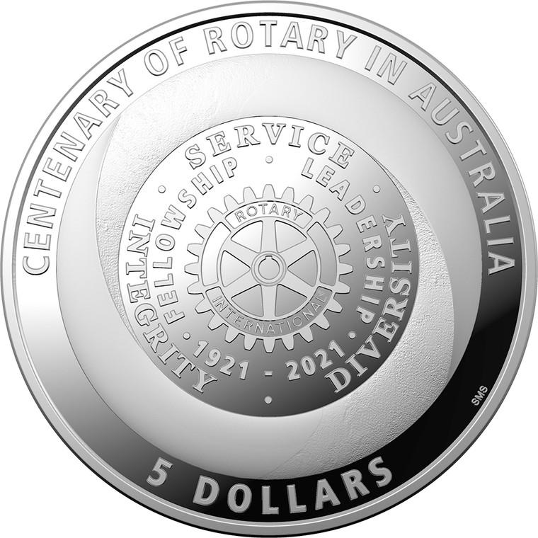 Centenary of Rotary Australia 2021 $5 Silver Proof Coin - reverse